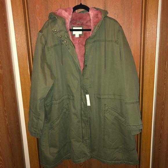 0876d371ba9ee Old Navy Jackets & Coats | Bnwt Sz 4x Green W Pink Fur Lined Jacket ...